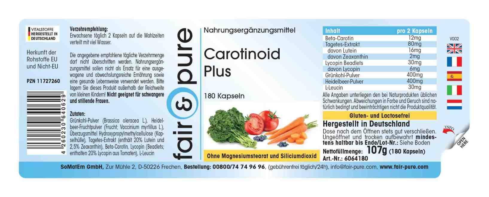 Caroténoïde Plus avec bêta-carotène, lutéine, zéaxanthine, zéaxanthine, lycopène