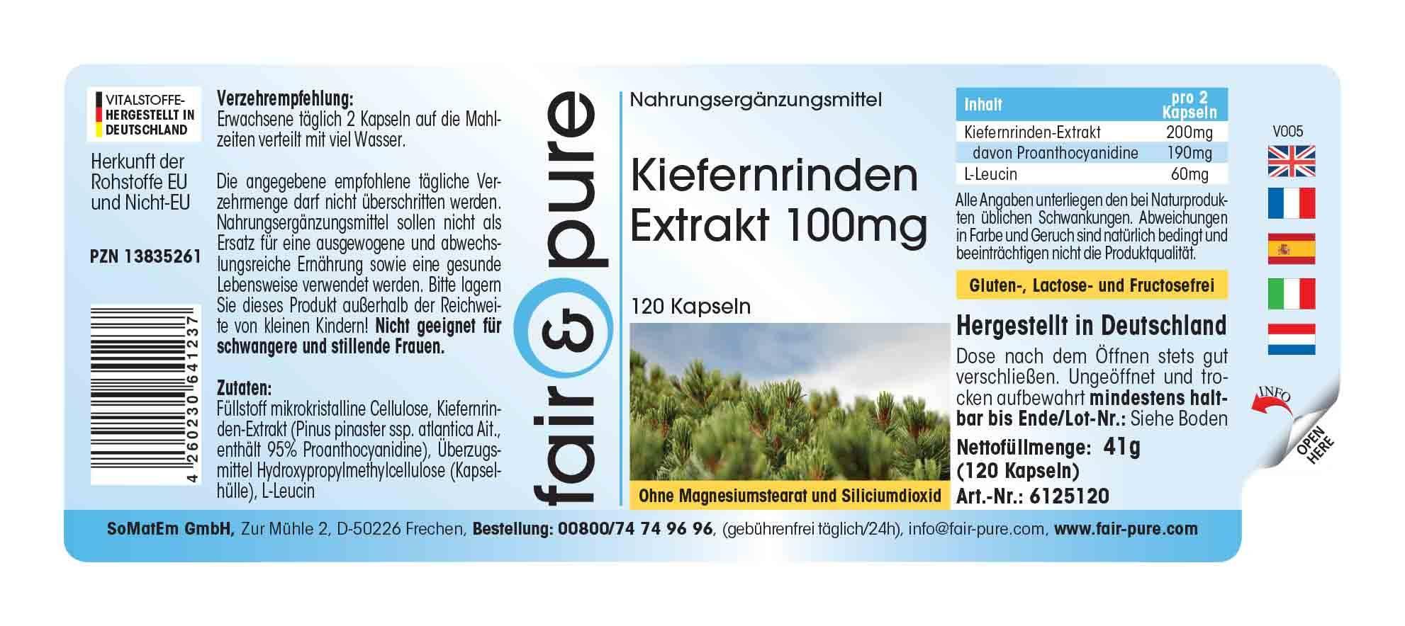 Kiefernrinden-Extrakt 100mg, 95% Proanthocyanidine, vegan