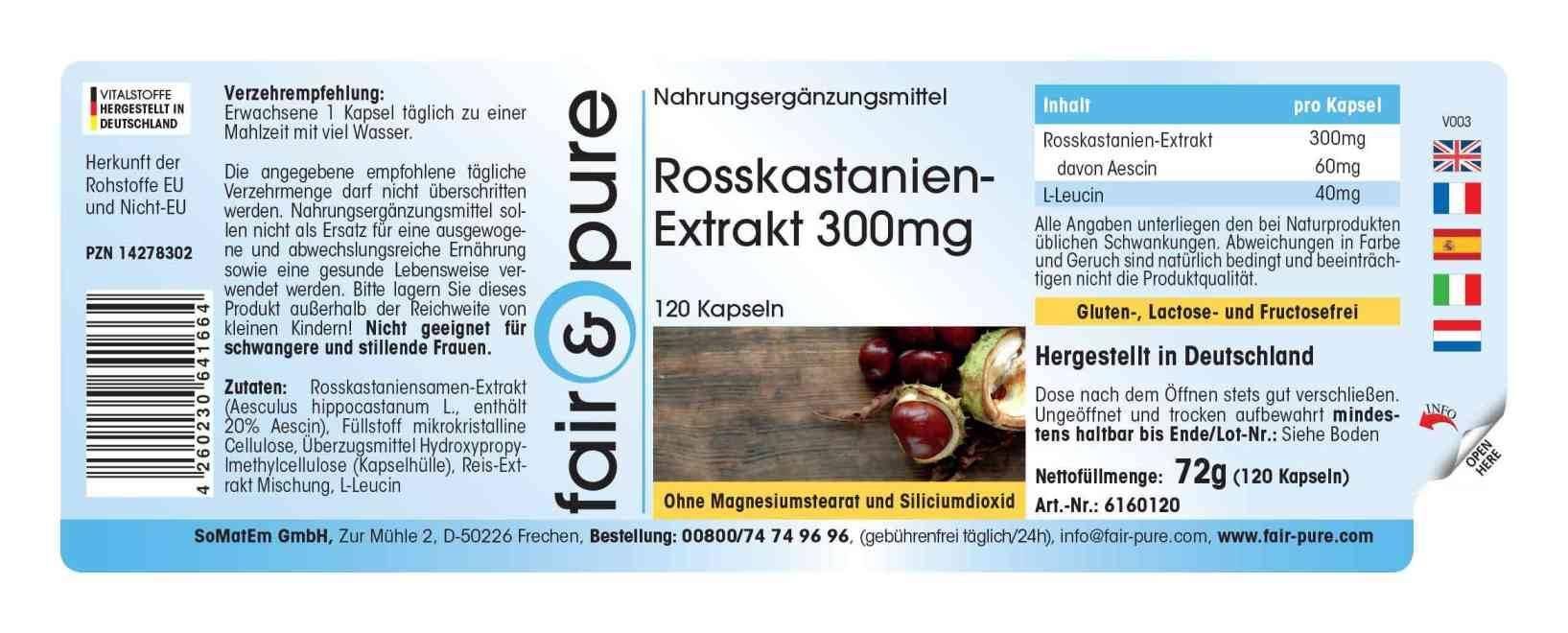 Extracto de Castaño de Indias 300mg - 120 cápsulas, 20% Aescina, vegano