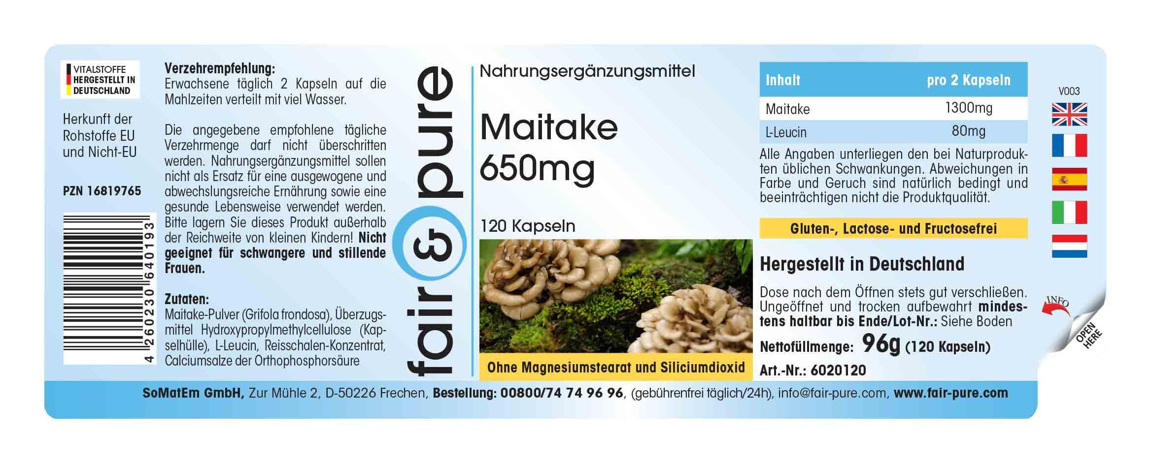 Maitake 650mg - 120 capsules Grifola frondosa, vegan